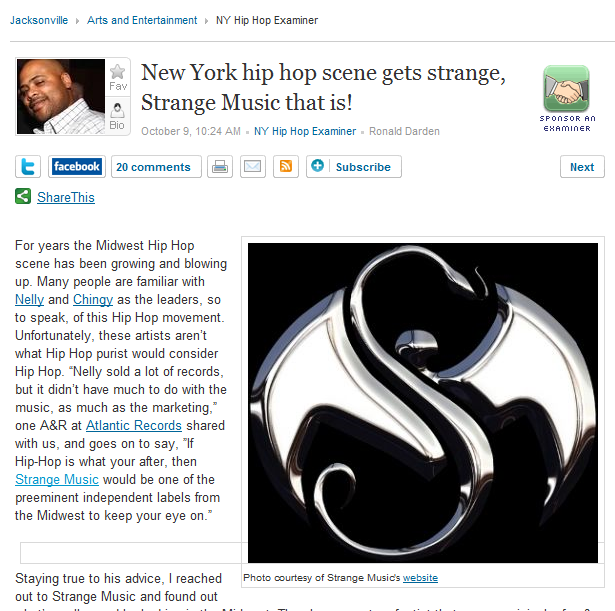 Examiner.com Is Excited For Strange Music In NYC