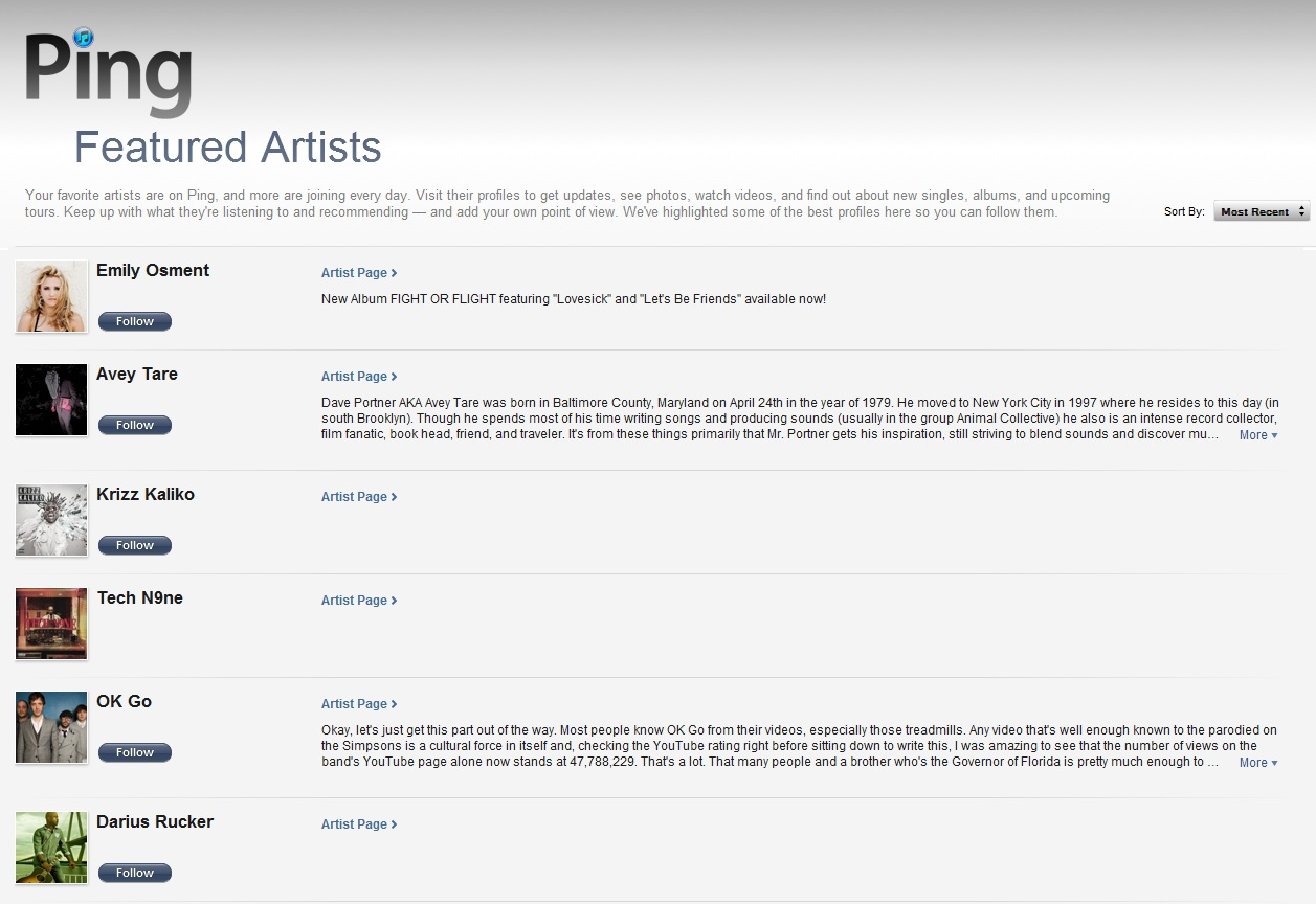 ping featured artists