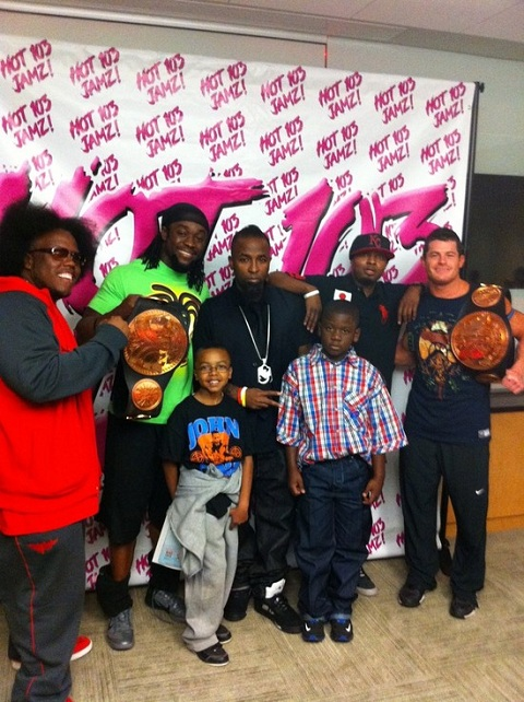 Tech N9ne, Krizz Kaliko, And Makzilla With WWE Tag Team Champions Air Boom