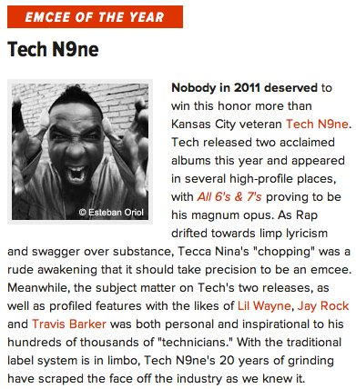 Tech N9ne Hip Hop DX Emcee Of The Year