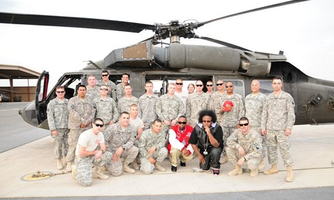 Tech N9ne And Krizz Kaliko With US Troops