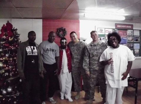 Tech N9ne And Krizz Kaliko With Soldiers In Kuwait