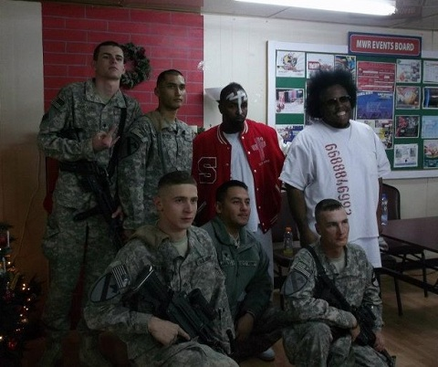 Tech N9ne And Krizz Kaliko Pose With US Troops