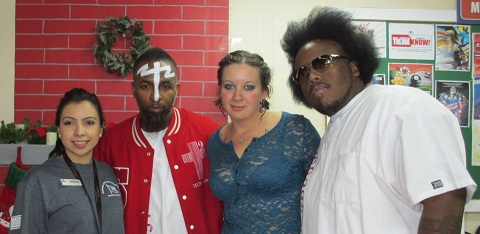 Fans With Tech N9ne And Krizz Kaliko At Camp Buehring