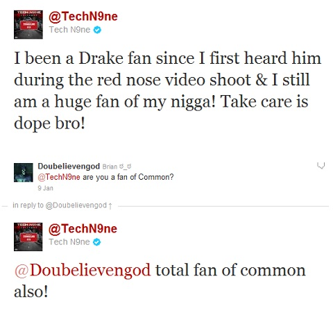 Tech N9ne Addresses Common V. Drake on Twitter