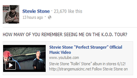 Stevie Stone Reaches Out To Fans On Facebook