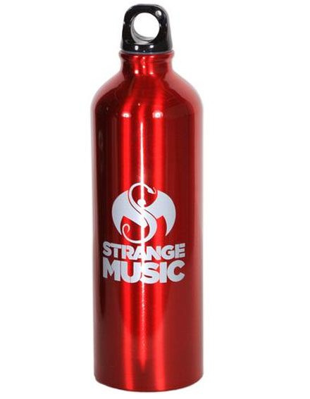 Strange Music Red Aluminum Water Bottle