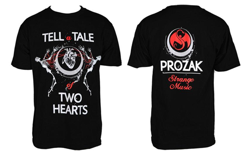 Prozak - Black Two Hearts T-Shirt