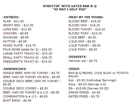 Gates Bar-B-Q Menu