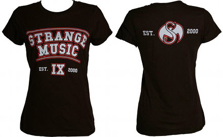 Strange Music - Ladies Black Collegiate T-Shirt