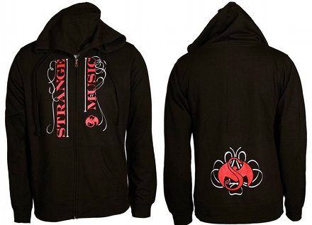 Strange Music - Ladies Black Line Zip Up Hoodie