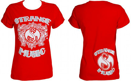 Strange Music - Ladies Red Inked T-Shirt