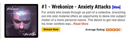 Wrekonize - Anxiety Attacks On Top Of DJBooth.net Independent Songs Chart