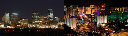 KC and Vegas skylines