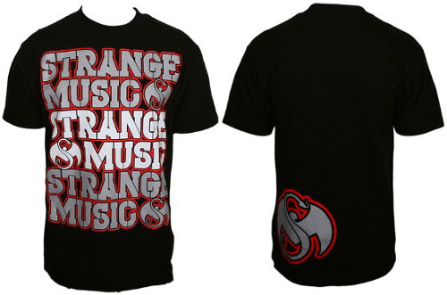 Strange Music Black Triple Stack T-Shirt