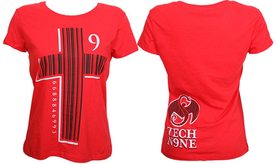 Tech N9ne - Red Barcode Cross Ladies T-Shirt