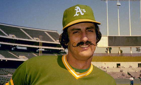 ORG XMIT: APHS111046 Rollie Fingers of the Oakland A's is seen, in 1976.  (AP Photo) [Via MerlinFTP Drop]