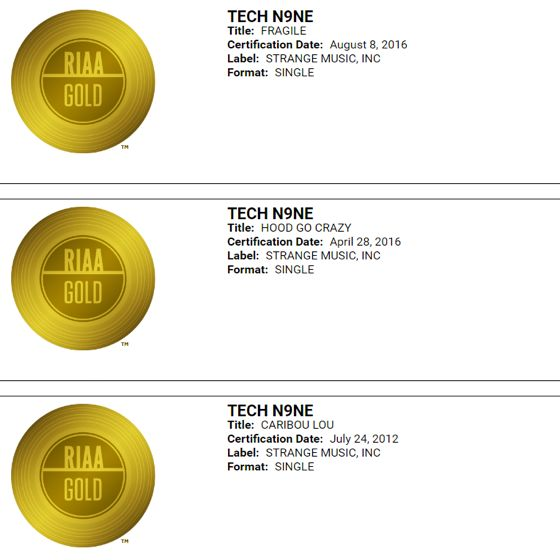 tech n9ne mayday fragile hood go crazy and caribou lou certified RIAA gold